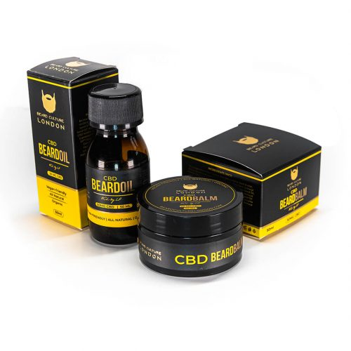 Beard Oil and Beard Balm Signature Bundle CBD with package
